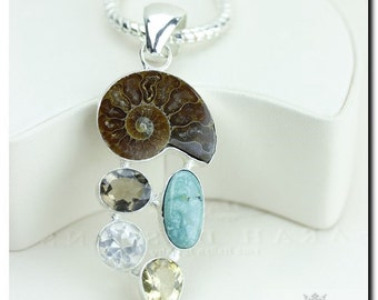 Ammonite Fossil Turquoise Smoky Topaz Citrine 925 SOLID Sterling Silver Pendant + 4mm Snake Chain & FREE Worldwide Shipping