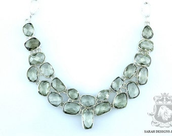 314 Carats Combined Green Amethyst PRASIOLITE 925 SOLID Sterling Silver Necklace & FREE Worldwide Shipping