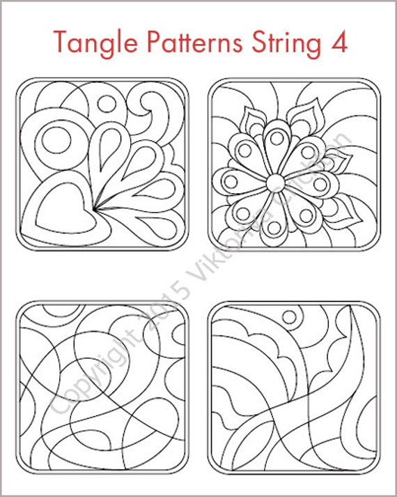 Strings for drawing zentangles tangle pattern by for Zentangle tile template