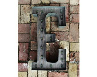 Custom Marquee Letter Sign - LARGE Rustic Industrial Marquee lighting w/ Metal, Distressed Wood & Vintage Light Bulb Letter Sign Wall Light