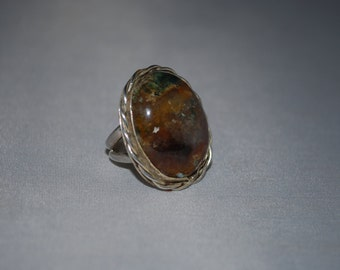 Sterling silver agate gemstone ring size 5