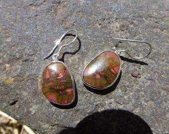 SALE!!!!!!! 10% off! Cherry Creek Jasper Sterling Silver Earrings ~Entia~