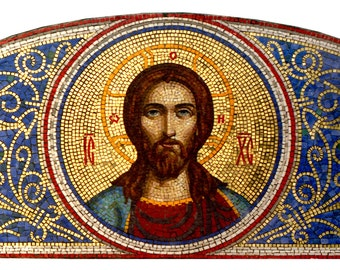 Orthodox mosaic icon Jesus Christ Mosaic art Orthodox art Byzantine art Mosaic wall art Religious art Christian icon Christian home decor