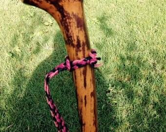 Walking Stick Strap - Kangaroo Leather Flat/Round Plait