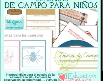 Cuaderno de campo imprimible para niños - español -