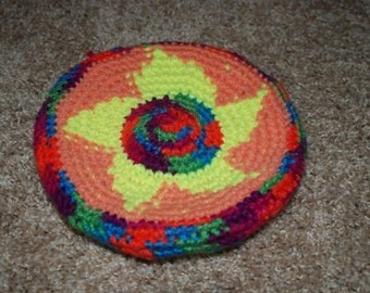 Colorful Crochet Frisbee