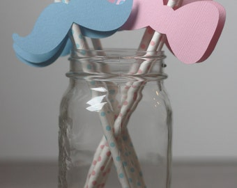 Gender Reveal Moustache and Bow Straws