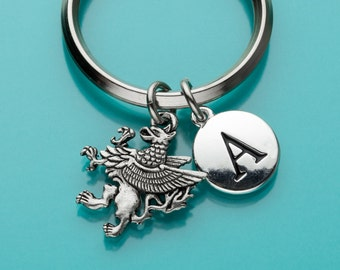 Griffin Keychain, Griffin Key Ring, Initial Keychain, Personalized Keychain, Custom Keychain, Charm Keychain, 171