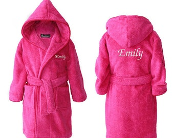 Personalised Girls Dressing Gowns, Teens Bathrobes, Personalised Bathrobe for Girl, Youths Towelling Bath Robe, Hot Pink, 2-15 years