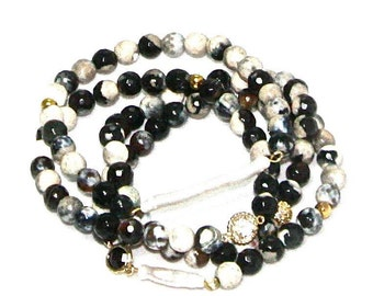Black and White Agate Bracelets