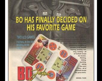 "Vintage Print Ad 1990's : Tiger Electronics BO JACKSON 2 in 1 Football and Baseball Art Decor 6.5"" x 10"" Advertisement"