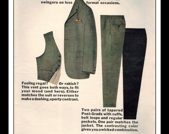 """Vintage Print Ad October 1965 : H.I.S. Clothing - 4 Piece Combo Suit Wall Art Decor 8.5"""" x 11"""" Print Advertisement"""