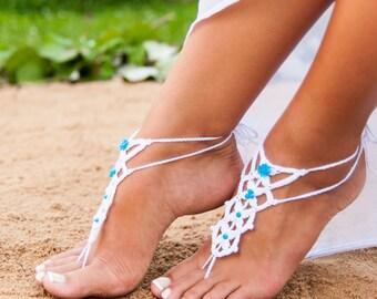 Barefoot sandal, White crochet barefoot sandals with blue beads, Something blue, Beach wedding, Destination wedding, Bridal shoes, Crochet