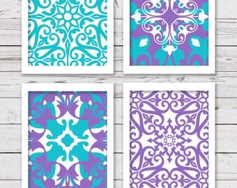 Turquoise Teal Art, Purple Art, PRINTABLE Art, Bedroom Art, Printable Nursery Art, INSTANT DOWNLOAD, Girl Art,  Purple Wall Decor