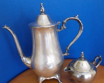 Silver Plated Tea Pot and Creamer by W. M. Rogers 1950's