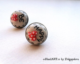 Polymer clay earrings - Jewelry - St.Valentine's Day - Jewelry - Best gift for her - Be happy - Best friends - Friendship