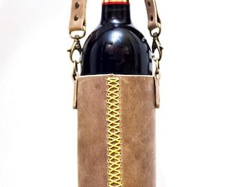 Handmade Leather Bottle Bag. Wine Bottle Holder. Wine Tote. Bottle Carrier