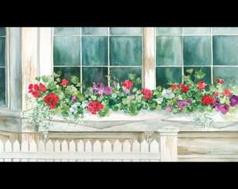 Geranium painting with window box, watercolor painting, giclee print 9 x 16