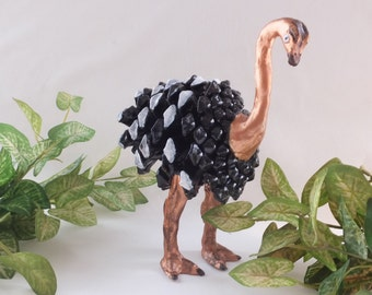 Pine cone, handmade, art, Sculpture, , clay, Ostrich,Home décor, Eco friend,  Sculptures from nature,Unique item,Pinecones