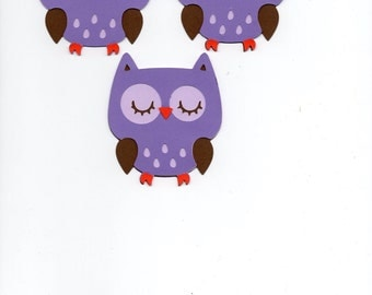 Owl die cut piece set of 3