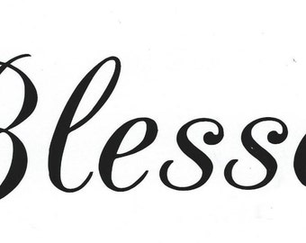 "vinyl Christian decal ""Blessed"""