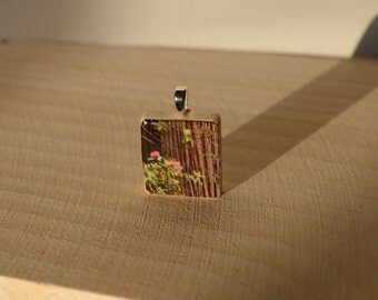 Scrabble tile pendant, forest, pink flowers, redwood, ball chain