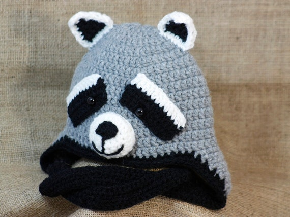 Free Crochet Animal Hat Patterns With Ear Flaps : Crochet Baby-Child Raccoon Hat Earflap Hat Zoo by BadHatCat