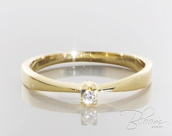 Tiny Engagement Ring Real Diamond Ring Delicate Diamond Ring Minimalist Diamond Ring Diamond Engagement Gold Ring Gold Engagement Ring