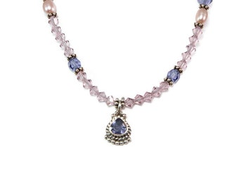 Amethyst Pendant Necklace Purple Bali Necklace February Birthday Birthstone Gift Idea for Her w/ Swarovski® Crystal, Spring Jewelry