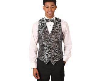 Men's black & silver zebra print vest