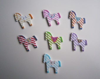 7 colourful stripey horse wooden buttons