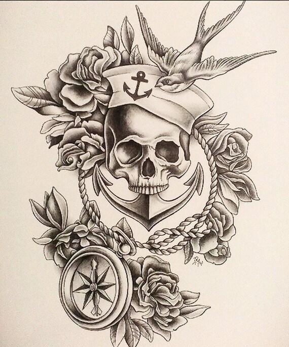 Items Similar To Print Sailor Skull Drawing 11x14 On Etsy