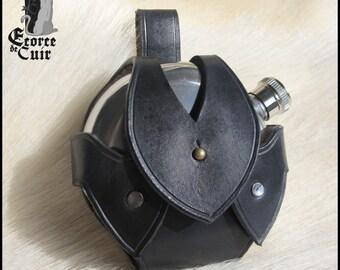 Door flaccid leather - included flange / Black / Black leather flask holder / GN / LARP