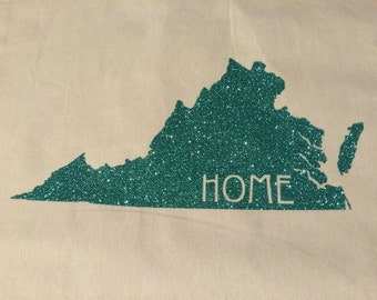 "Virginia ""HOME"" Tote Bag (Customize with your home state); Sturdy, Canvas Tote"