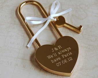 Engraved Love Padlock - Typewriter Font ~ Personalised Engagement, Wedding, Anniversary, Birthday, Valentines Gift
