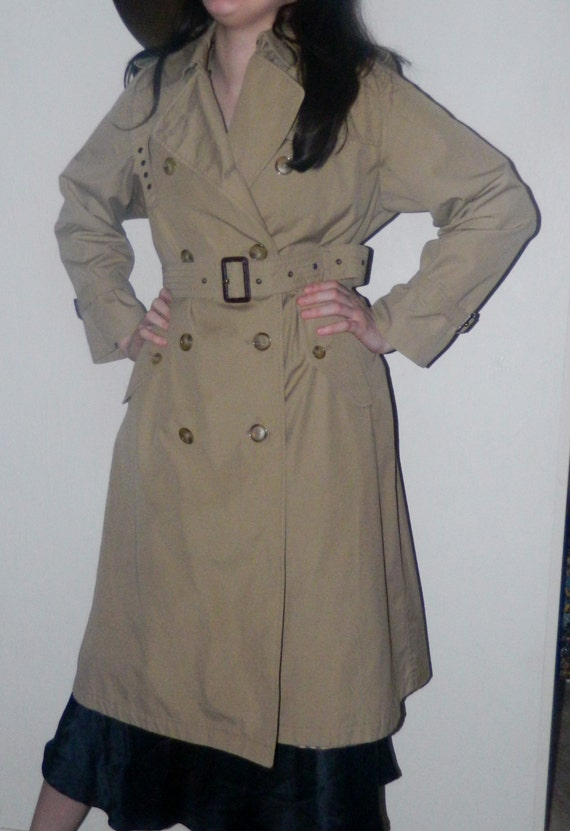 Vintage 70s Trench DoubLe Breasted Spy Coat Tan by ...