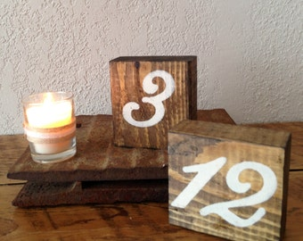 Wedding Table Numbers | Wood Table Numbers | Rustic Wedding Décor | Ivory & Wood