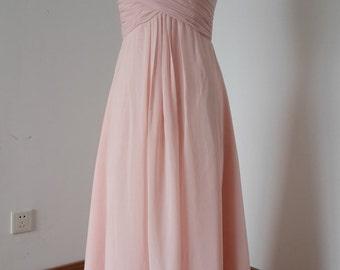 2015 V-neck Pearl Pink Chiffon Long Bridesmaid Dress