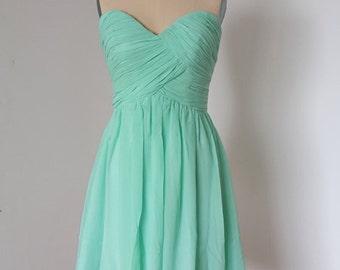 2015 Popular Sweetheart Mint Chiffon Short Bridesmaid Dress