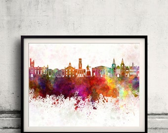 Aberdeen skyline in watercolor background 8x10 in to 12x16 Poster Digital Wall art Illustration Print Art Decorative  - SKU 0157