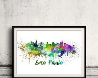 Sao Paulo skyline in watercolor over white background with name of city 8x10 in. to 12x16 in. Poster Wall art Illustration Print  - SKU 0202
