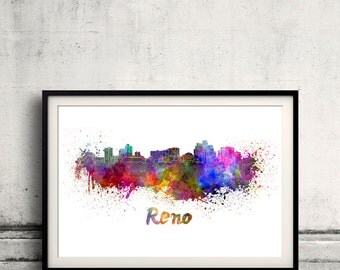 Reno skyline in watercolor over white background with name of city 8x10 in. to 12x16 in. Poster Wall art Illustration Print  - SKU 0239