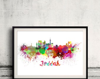 Jeddah skyline in watercolor over white background with name of city 8x10 in. to 12x16 in. Poster Wall art Illustration Print  - SKU 0334
