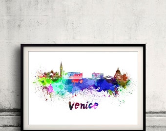Venice skyline in watercolor over white background with name of city 8x10 in. to 12x16 in. Poster Wall art Illustration Print  - SKU 0344