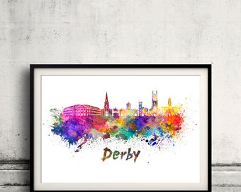 Derby skyline in watercolor over white background with name of city 8x10 in. to 12x16 in. Poster Wall art Illustration Print  - SKU 0374