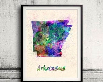 Arkansas US State in watercolor background 8x10 in. to 12x16 in. Poster Digital Wall art Illustration Print Art Decorative  - SKU 0392