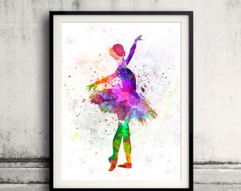 Woman ballerina ballet dancer dancing 8x10 in. to 12x16 in. Poster Digital Wall art Illustration Print Art Decorative  - SKU 0503