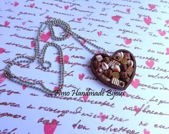 Heart pendant box of chocolates