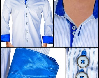 White with Shiny Blue Contrast Men's Designer Dress Shirt - Made To Order in USA