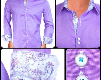 Light Purple Men's Designer Dress Shirt - Made To Order in USA
